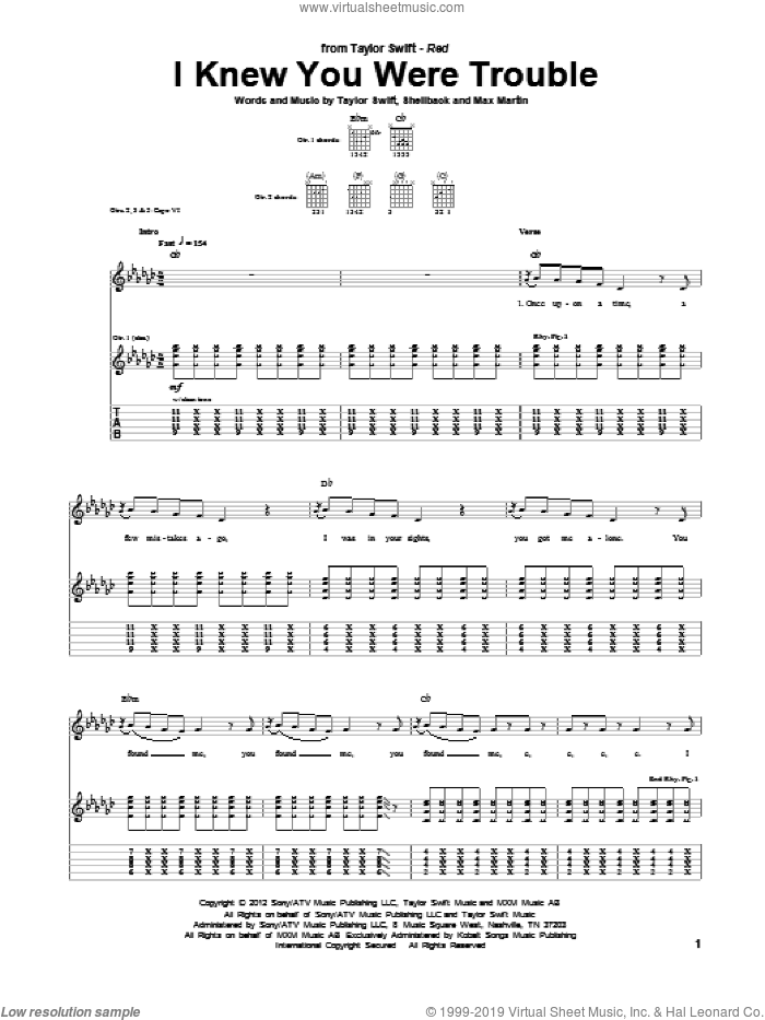 I Knew You Were Trouble sheet music for guitar (tablature) by Taylor Swift, Max Martin and Shellback, intermediate skill level