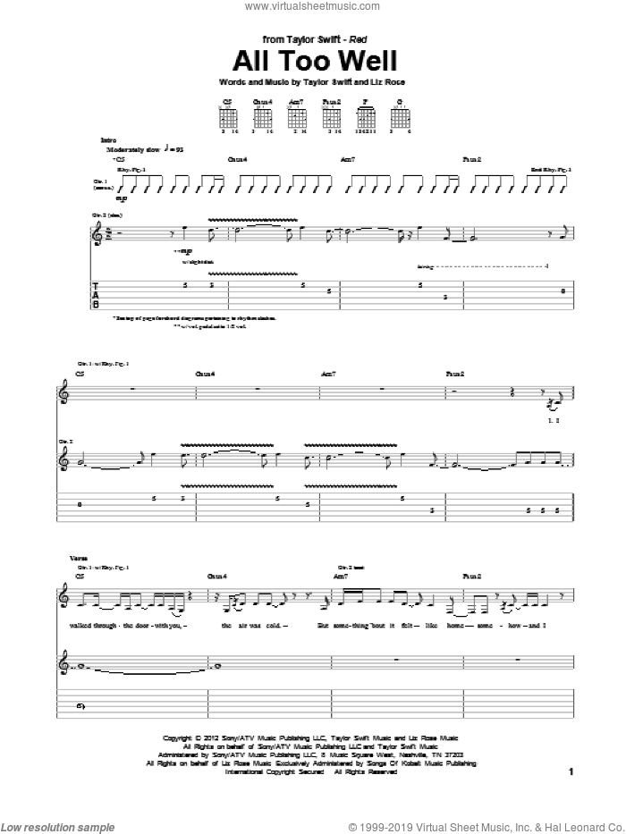 All Too Well sheet music for guitar (tablature) by Taylor Swift and Liz Rose, intermediate guitar (tablature). Score Image Preview.