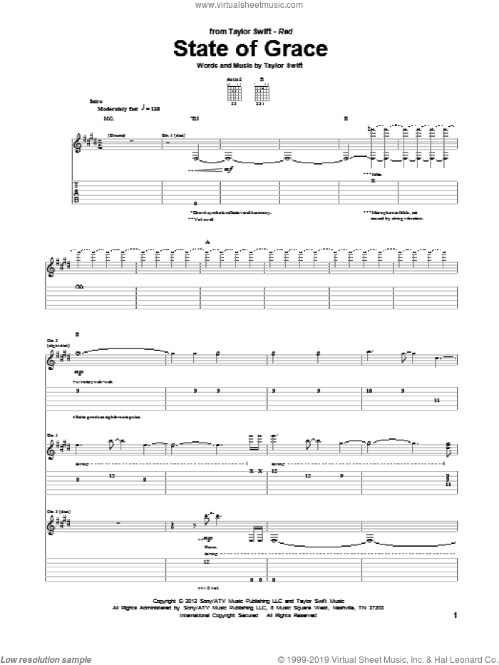 State Of Grace sheet music for guitar (tablature) by Taylor Swift, intermediate skill level