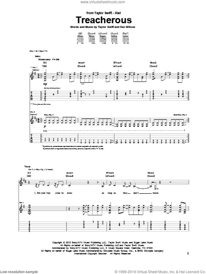 Treacherous sheet music for guitar (tablature) by Taylor Swift and Dan Wilson, intermediate skill level