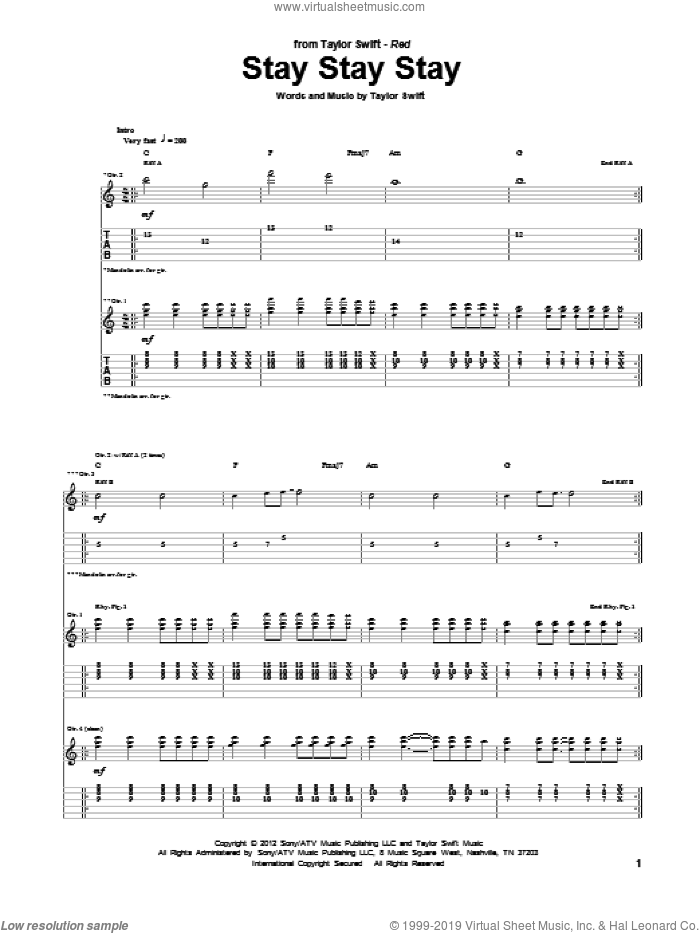 Stay Stay Stay sheet music for guitar (tablature) by Taylor Swift. Score Image Preview.