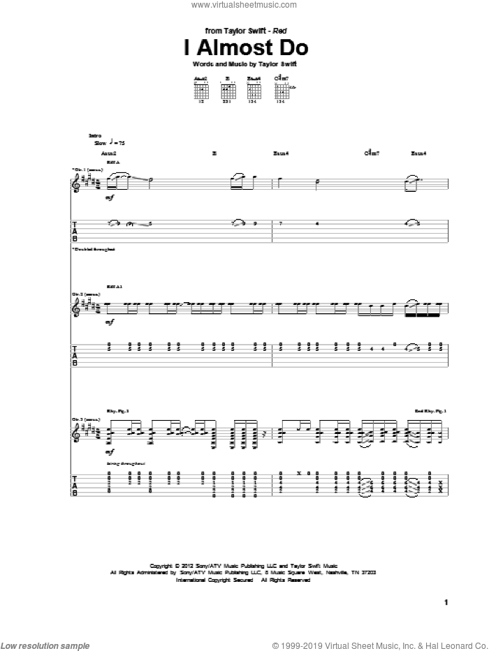 I Almost Do sheet music for guitar (tablature) by Taylor Swift, intermediate skill level