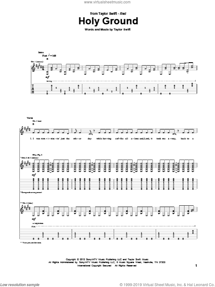 Holy Ground sheet music for guitar (tablature) by Taylor Swift, intermediate. Score Image Preview.
