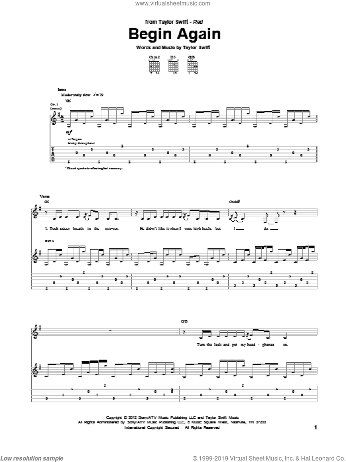 Begin Again sheet music for guitar (tablature) by Taylor Swift. Score Image Preview.