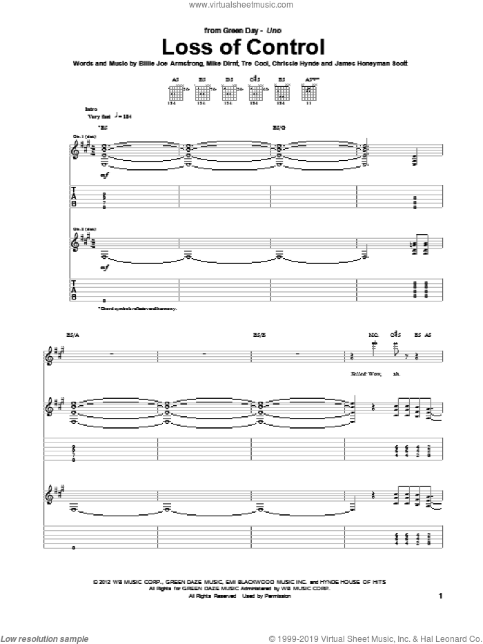Loss Of Control sheet music for guitar (tablature) by Green Day, Billie Joe Armstrong, Chrissie Hynde, James Honeyman Scott, Mike Dirnt and Tre Cool, intermediate skill level