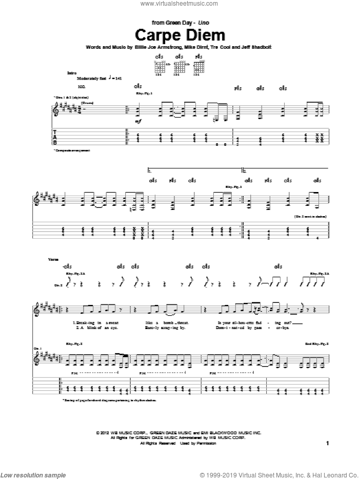 Carpe Diem sheet music for guitar (tablature) by Tre Cool