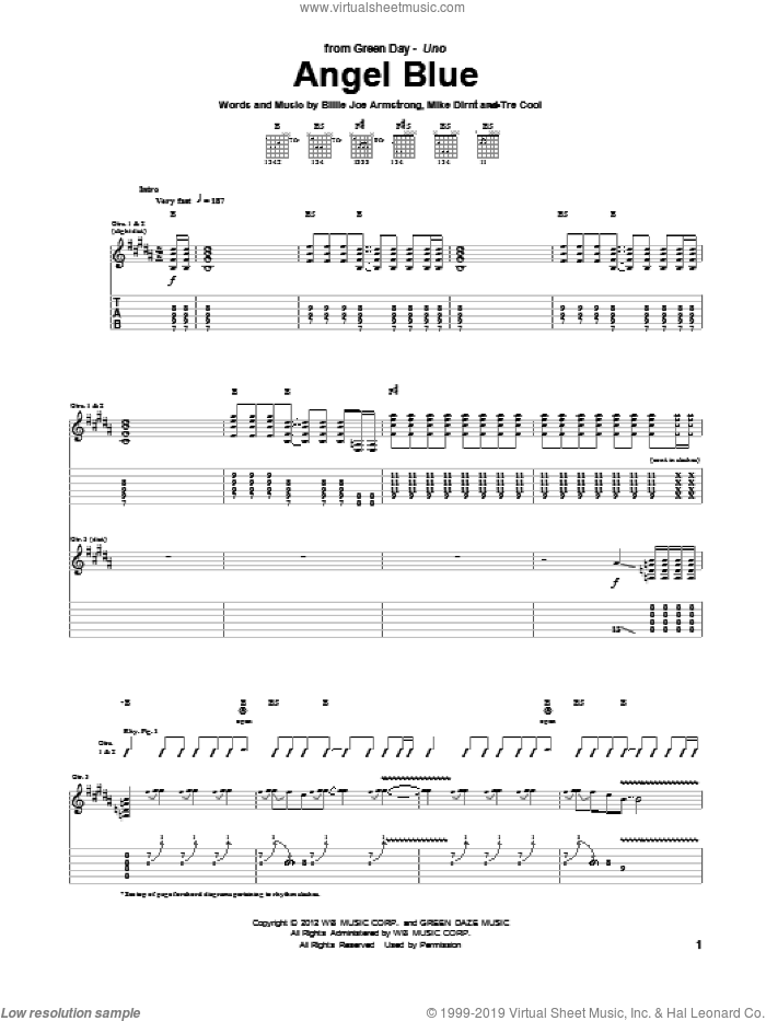 Angel Blue sheet music for guitar (tablature) by Green Day, Billie Joe Armstrong, Mike Dirnt and Tre Cool, intermediate skill level