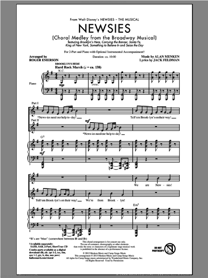 Newsies (Choral Medley) sheet music for choir (2-Part) by Alan Menken, Jack Feldman and Roger Emerson, intermediate duet. Score Image Preview.