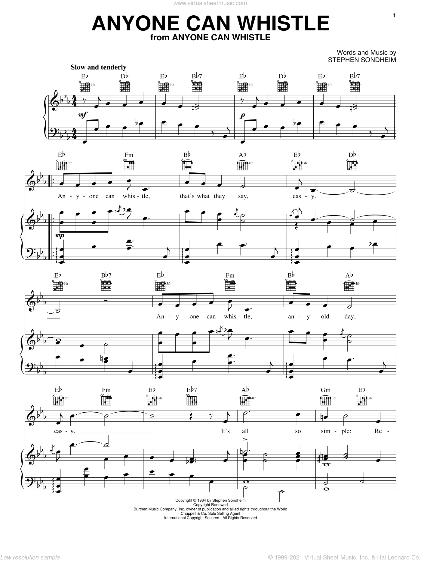 Anyone Can Whistle sheet music for voice, piano or guitar by Stephen Sondheim, intermediate skill level