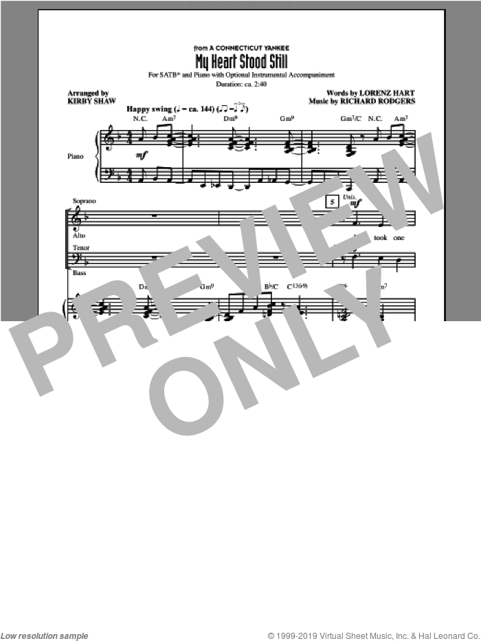My Heart Stood Still sheet music for choir (SATB) by Richard Rodgers, Kirby Shaw and Lorenz Hart. Score Image Preview.