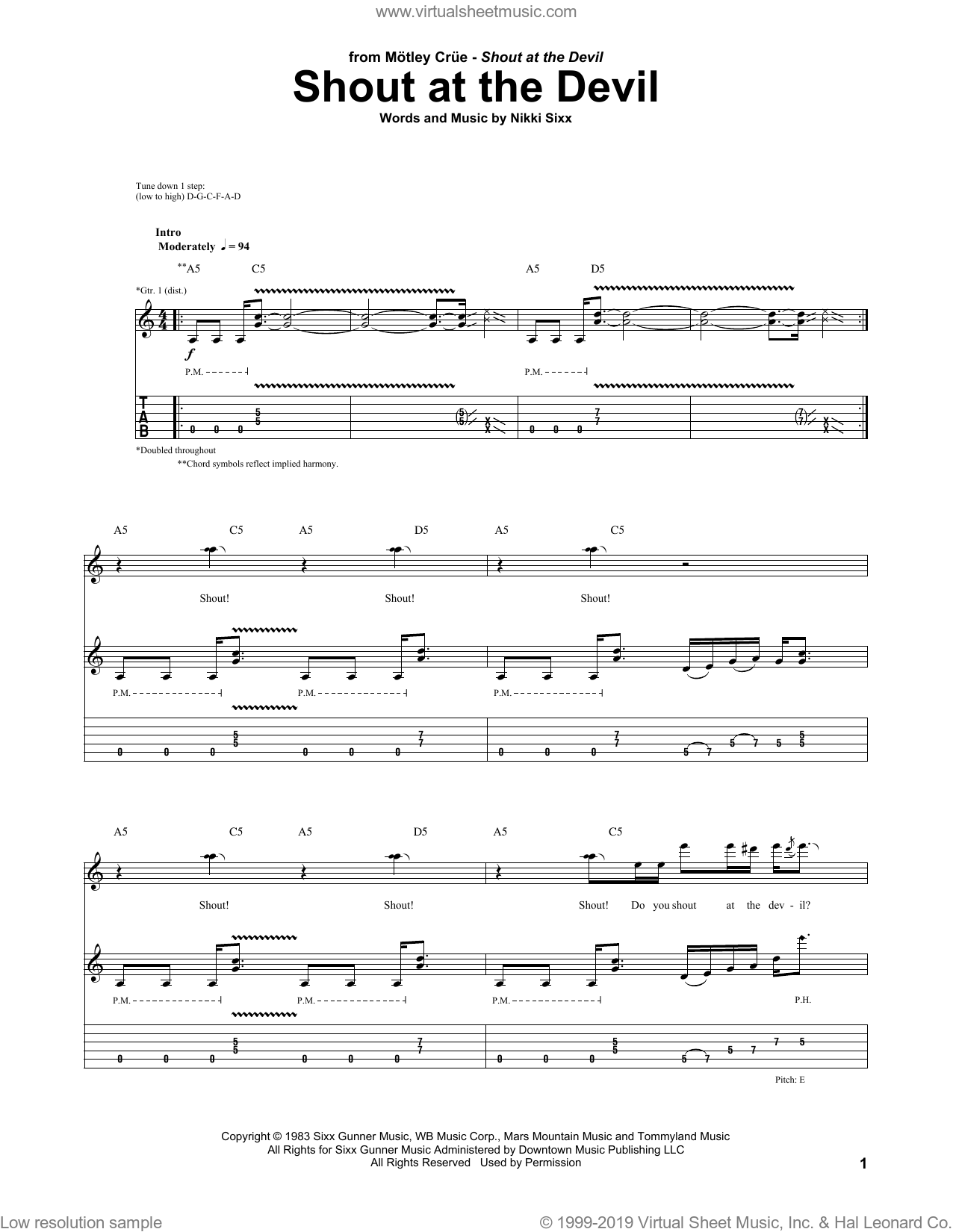 Shout At The Devil sheet music for guitar (tablature) by Motley Crue and Nikki Sixx, intermediate. Score Image Preview.