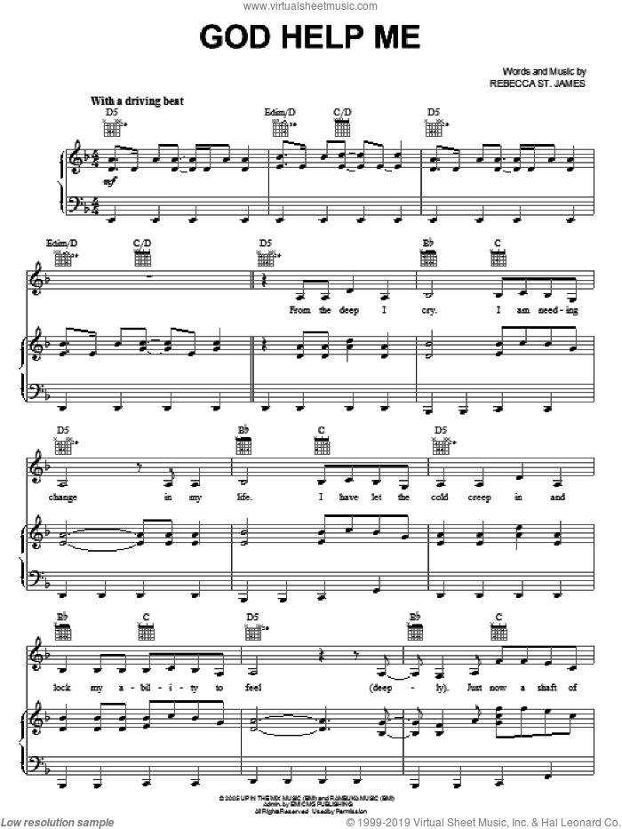 God Help Me sheet music for voice, piano or guitar by Rebecca St. James, intermediate skill level
