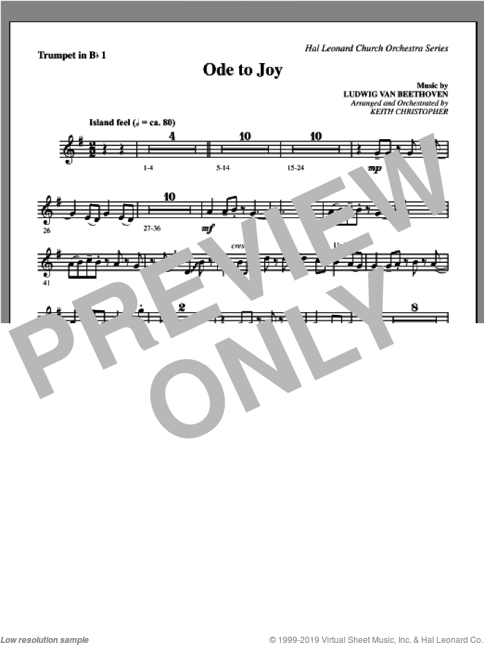 Ode To Joy sheet music for orchestra/band (Bb trumpet 1) by Henry van Dyke