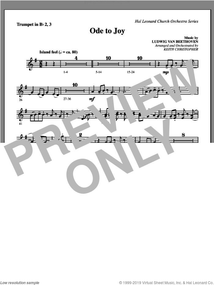 Ode To Joy sheet music for orchestra/band (Bb trumpet 2,3) by Henry van Dyke
