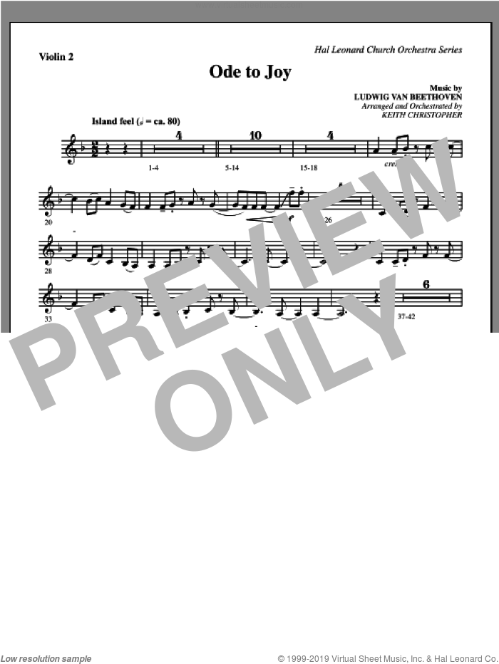 Ode To Joy sheet music for orchestra/band (violin 2) by Henry van Dyke