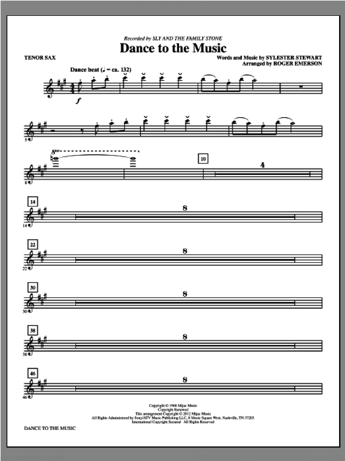 Dance to the Music (complete set of parts) sheet music for orchestra/band by Sly And The Family Stone and Sylvester Stewart, intermediate skill level