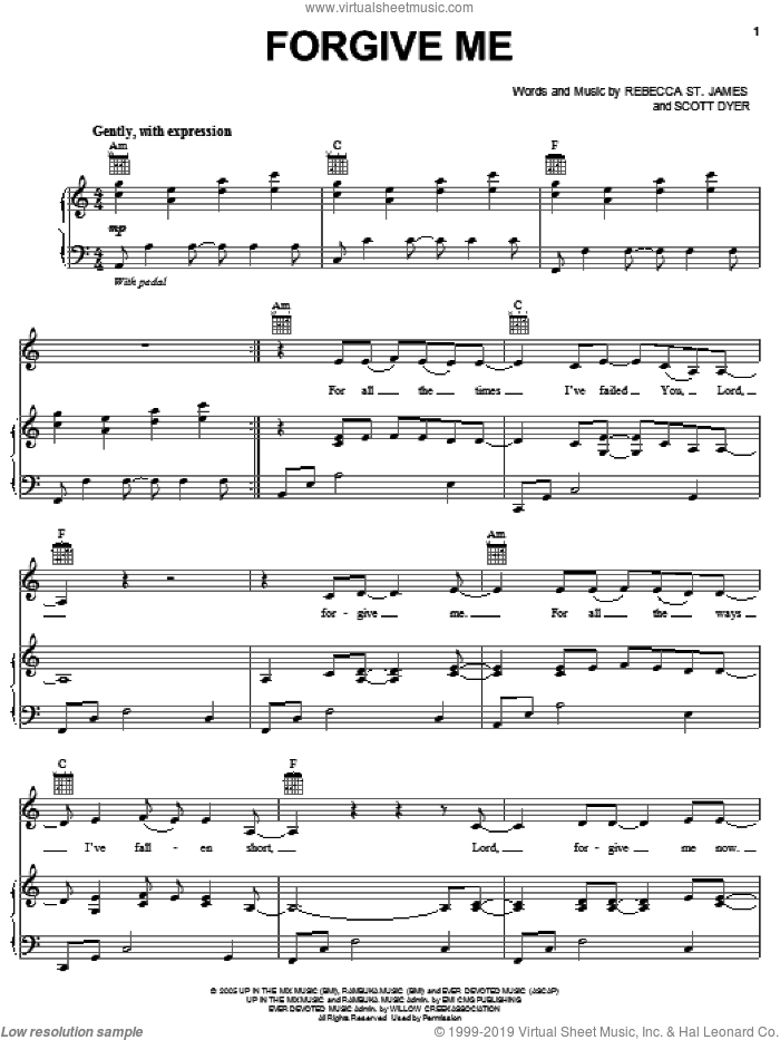 Forgive Me sheet music for voice, piano or guitar by Rebecca St. James and Scott Dyer, intermediate skill level