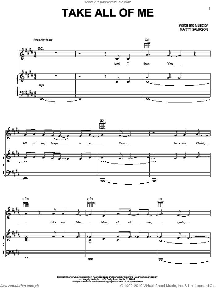 Take All Of Me sheet music for voice, piano or guitar by Rebecca St. James and Marty Sampson, intermediate skill level