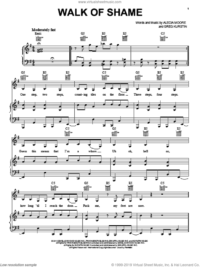 Walk Of Shame sheet music for voice, piano or guitar, intermediate skill level