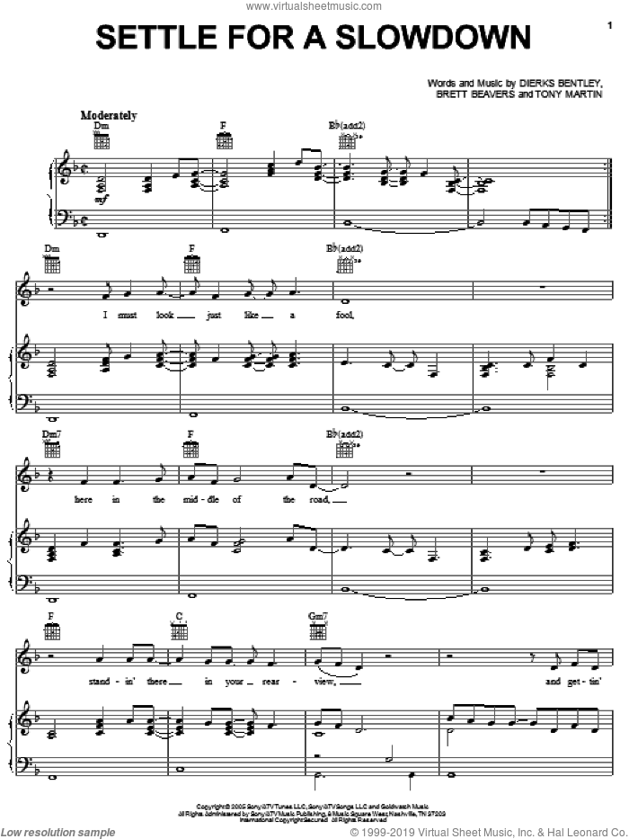 Settle For A Slowdown sheet music for voice, piano or guitar by Tony Martin