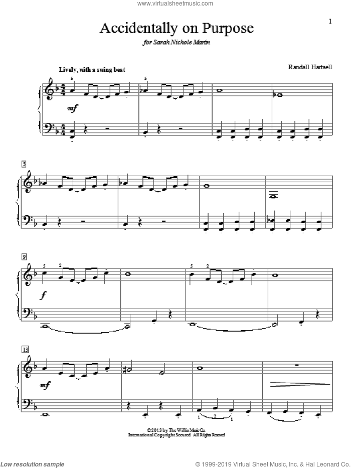 Accidentally On Purpose sheet music for piano solo (elementary) by Randall Hartsell. Score Image Preview.