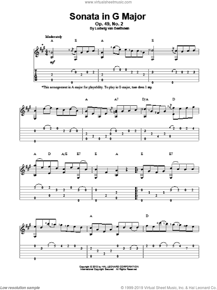 Sonata in G Major, Op. 49, No. 2 sheet music for guitar solo by Ludwig van Beethoven, classical score, intermediate skill level