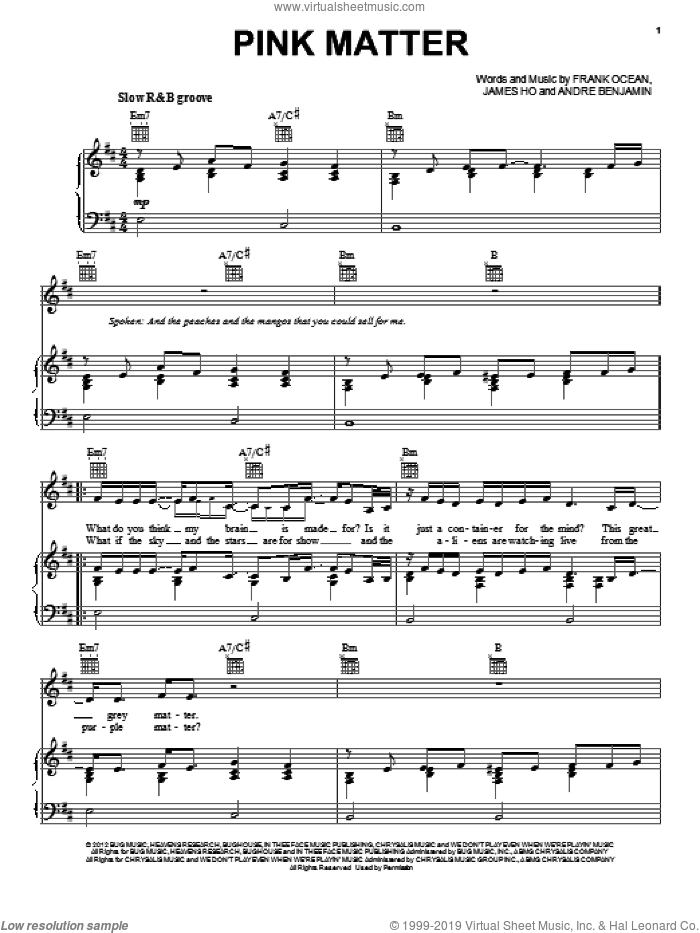 Pink Matter sheet music for voice, piano or guitar by Frank Ocean, Andre Benjamin and James Ho, intermediate skill level