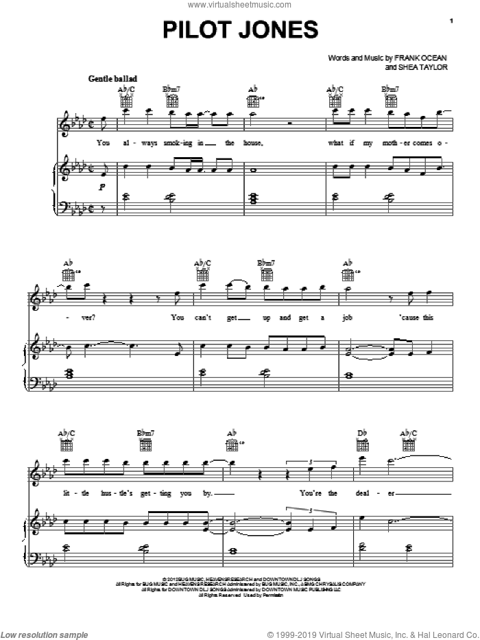 Pilot Jones sheet music for voice, piano or guitar by Shea Taylor and Frank Ocean. Score Image Preview.