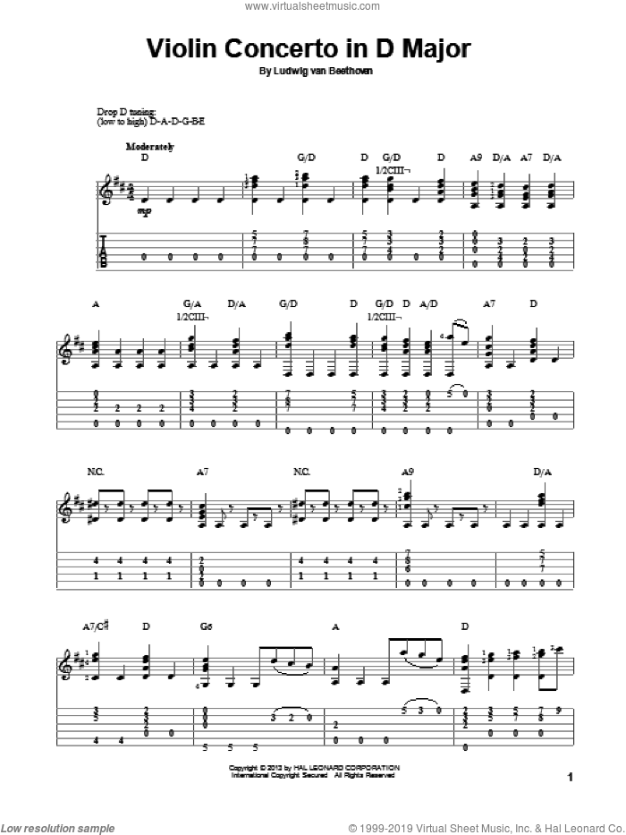 Violin Concerto In D Major sheet music for guitar solo by Ludwig van Beethoven, classical score, intermediate skill level