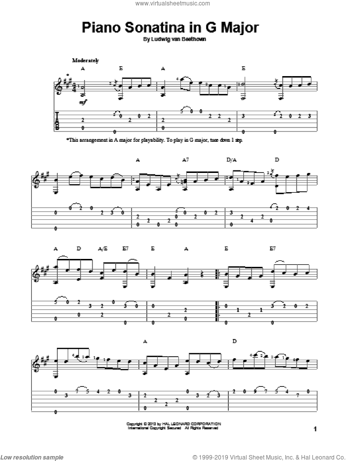 Piano Sonatina In G Major sheet music for guitar solo by Ludwig van Beethoven, classical score, intermediate skill level