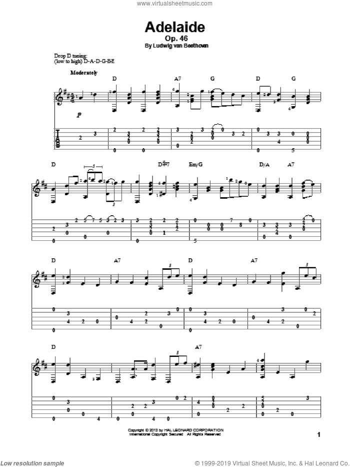 Adelaide, Op. 46 sheet music for guitar solo by Ludwig van Beethoven, classical score, intermediate skill level