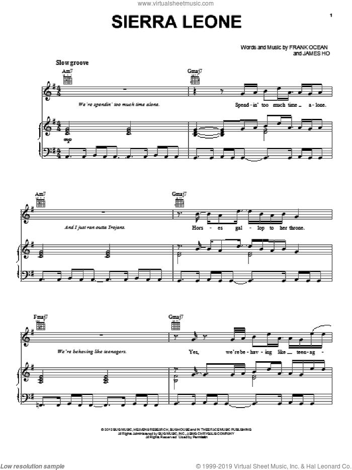 Sierra Leone sheet music for voice, piano or guitar by Frank Ocean, intermediate. Score Image Preview.