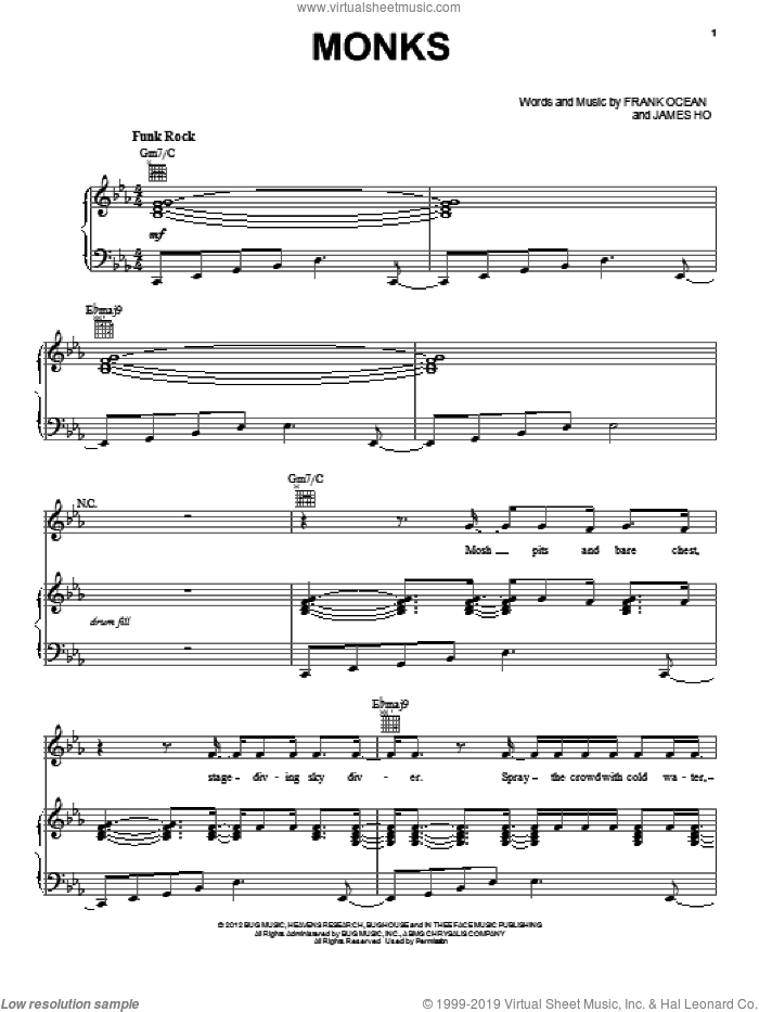 Monks sheet music for voice, piano or guitar by Frank Ocean and James Ho, intermediate skill level