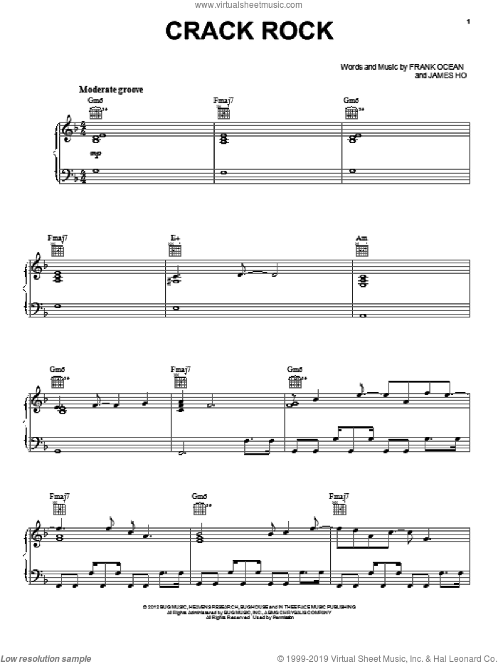 Crack Rock sheet music for voice, piano or guitar by Frank Ocean and James Ho, intermediate skill level