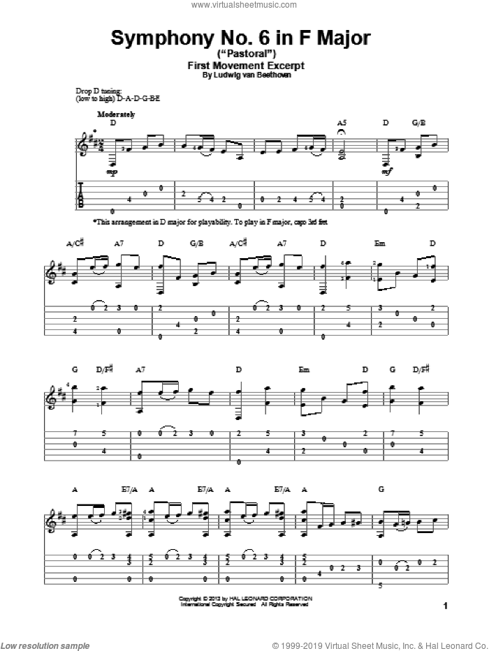 Symphony No. 6 In F Major ('Pastoral'), First Movement Excerpt sheet music for guitar solo by Ludwig van Beethoven, classical score, intermediate skill level