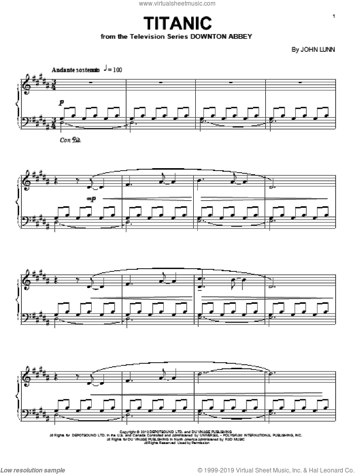 Titanic, (intermediate) sheet music for piano solo by John Lunn and Downton Abbey (TV Show), intermediate. Score Image Preview.