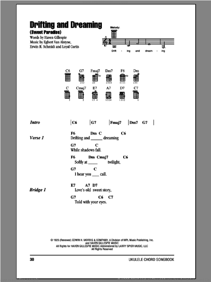 Drifting And Dreaming (Sweet Paradise) sheet music for ukulele (chords) by Haven Gillespie, Egbert Van Alstyne and Loyal Curtis. Score Image Preview.
