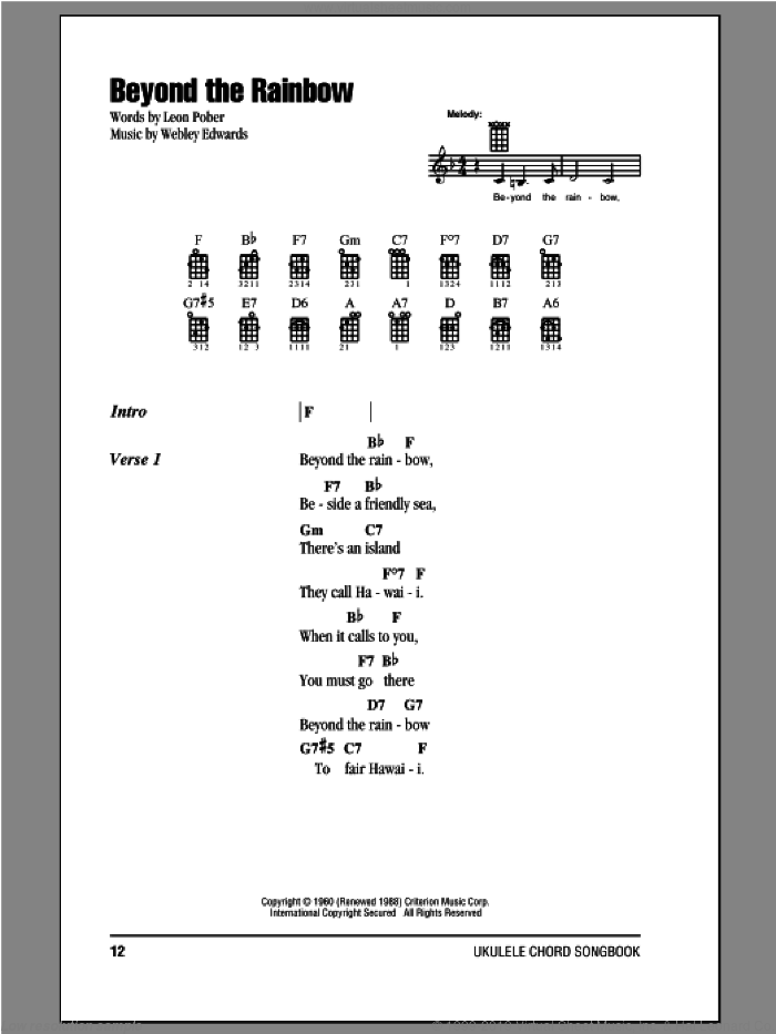 Beyond The Rainbow sheet music for ukulele (chords) by Webley Edwards and Leon Pober, intermediate skill level