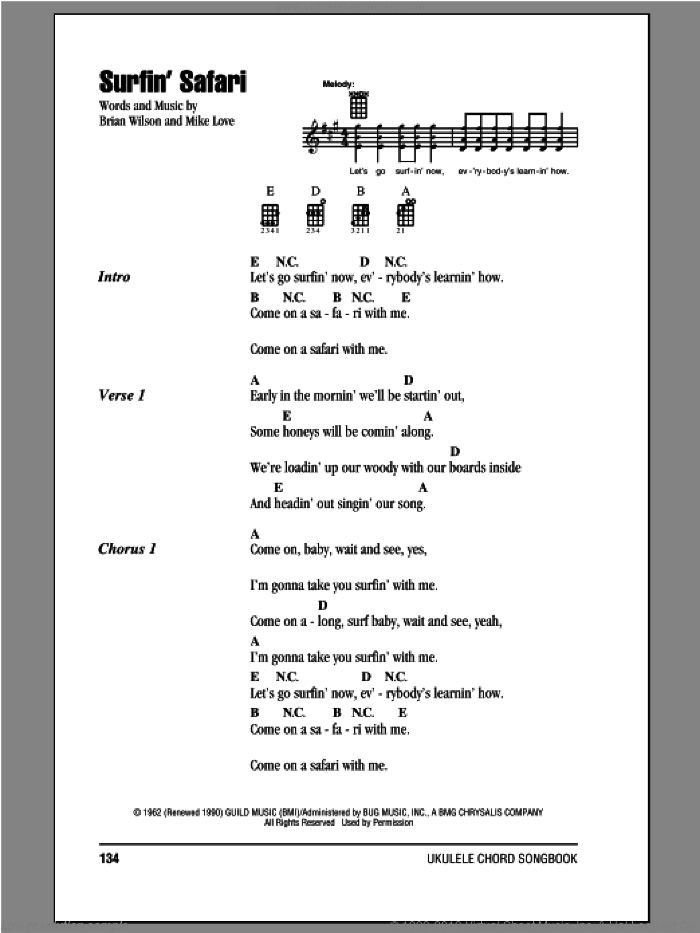 Surfin' Safari sheet music for ukulele (chords) by The Beach Boys. Score Image Preview.