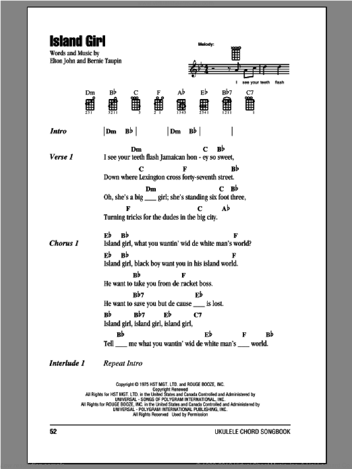 Island Girl sheet music for ukulele (chords) by Elton John and Bernie Taupin. Score Image Preview.