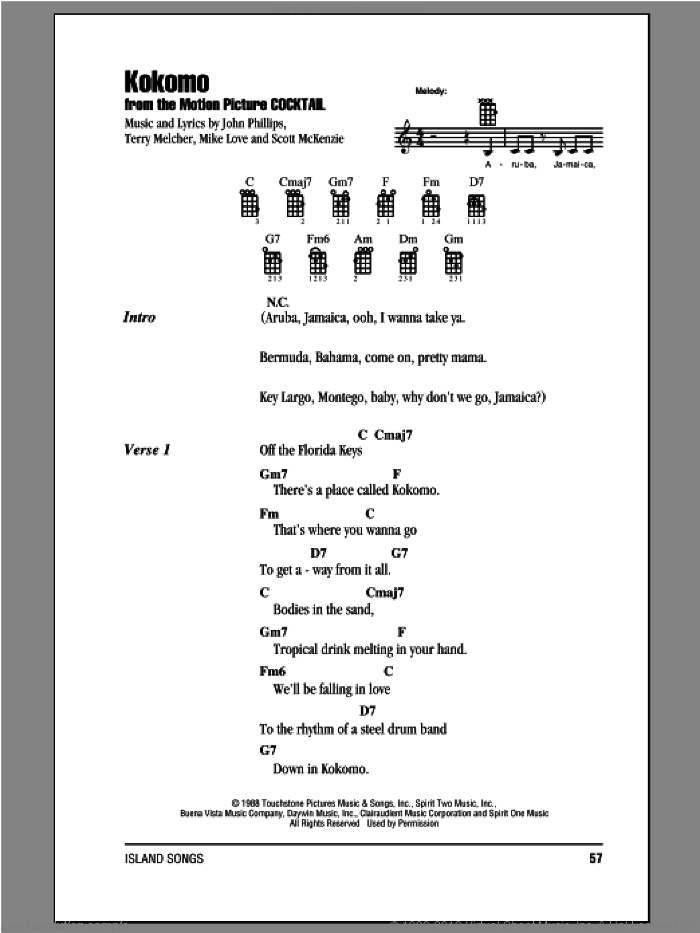 Kokomo sheet music for ukulele (chords) by The Beach Boys, intermediate. Score Image Preview.
