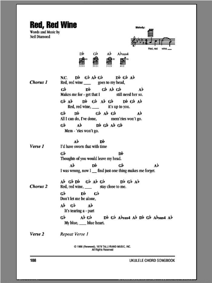 Red, Red Wine sheet music for ukulele (chords) by Neil Diamond. Score Image Preview.