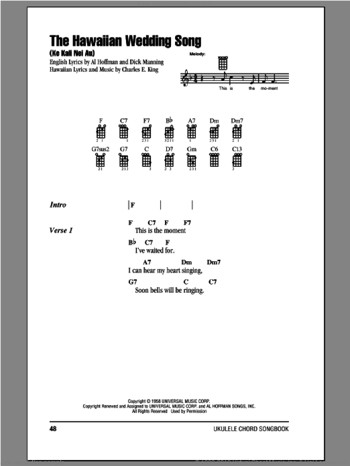 The Hawaiian Wedding Song (Ke Kali Nei Au) sheet music for ukulele (chords) by Andy Williams and Elvis Presley, intermediate skill level