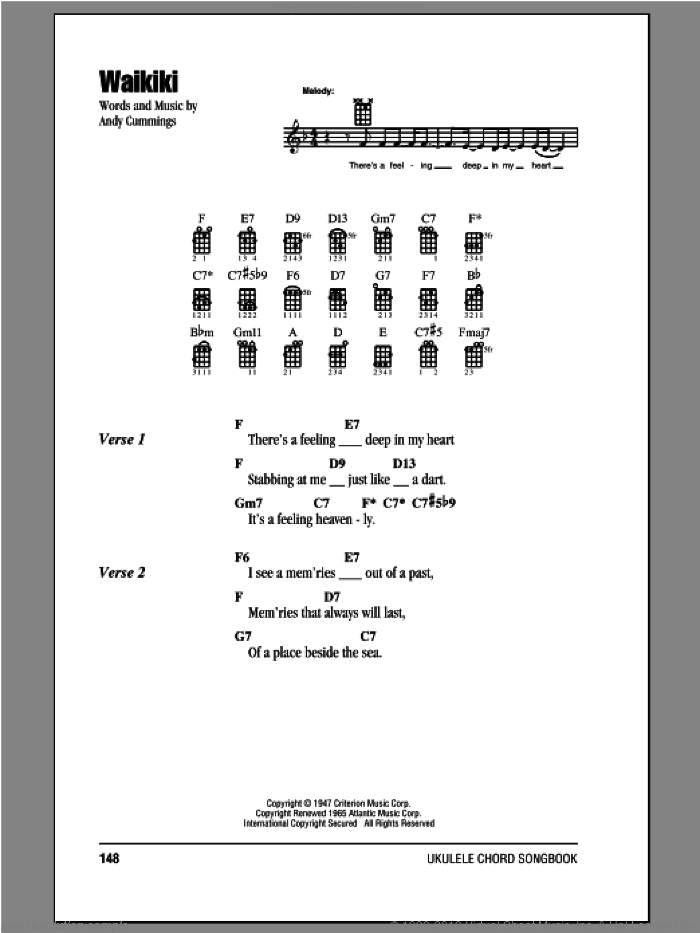 Waikiki sheet music for ukulele (chords) by Andy Cummings, intermediate ukulele (chords). Score Image Preview.