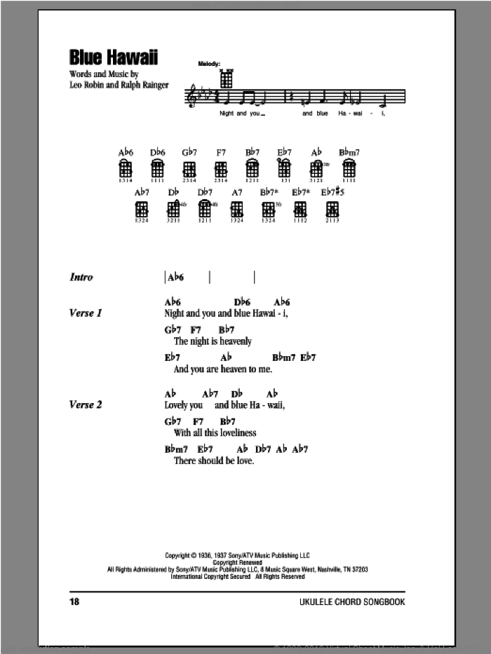 Blue Hawaii sheet music for ukulele (chords) by Elvis Presley, Billy Vaughn, Leo Robin and Ralph Rainger, intermediate ukulele (chords). Score Image Preview.
