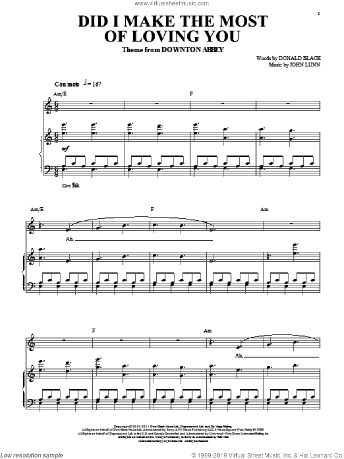 Did I Make The Most Of Loving You sheet music for piano solo by Don Black and John Lunn, intermediate skill level