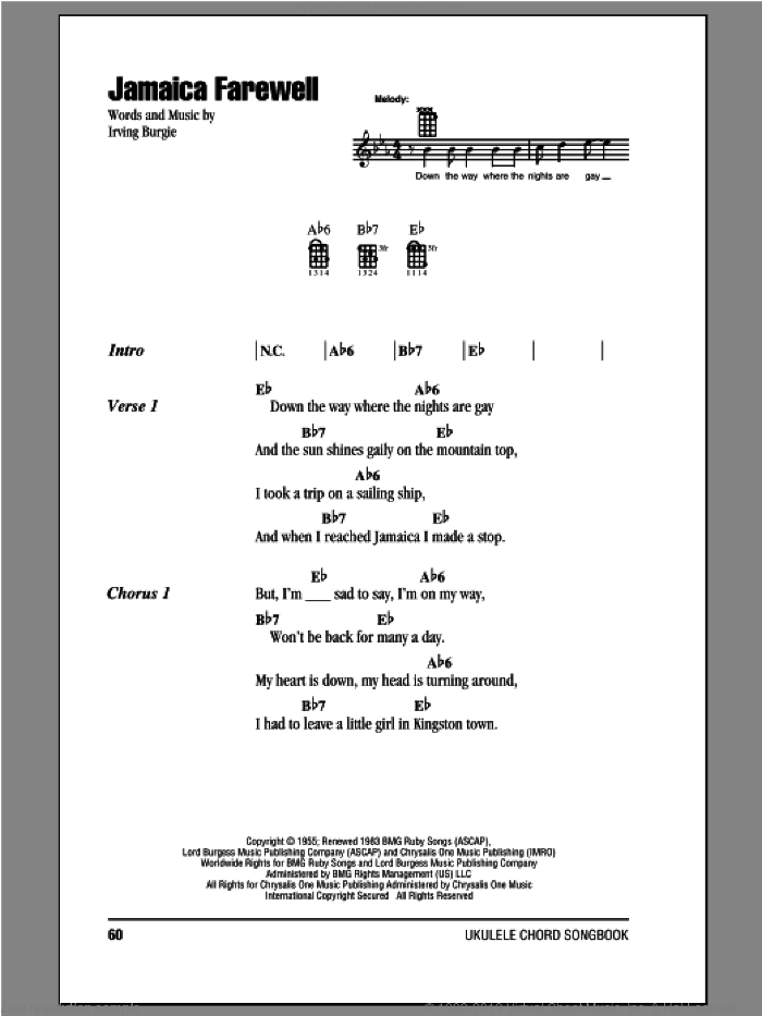 Jamaica Farewell sheet music for ukulele (chords) by Harry Belafonte and Irving Burgie. Score Image Preview.