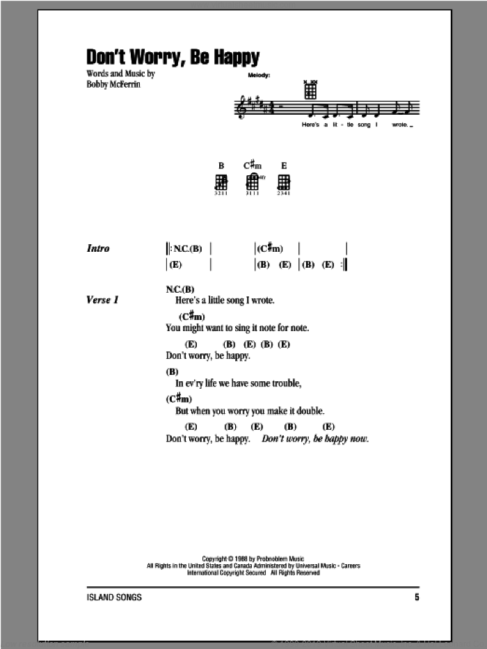 Don't Worry, Be Happy sheet music for ukulele (chords) by Bobby McFerrin