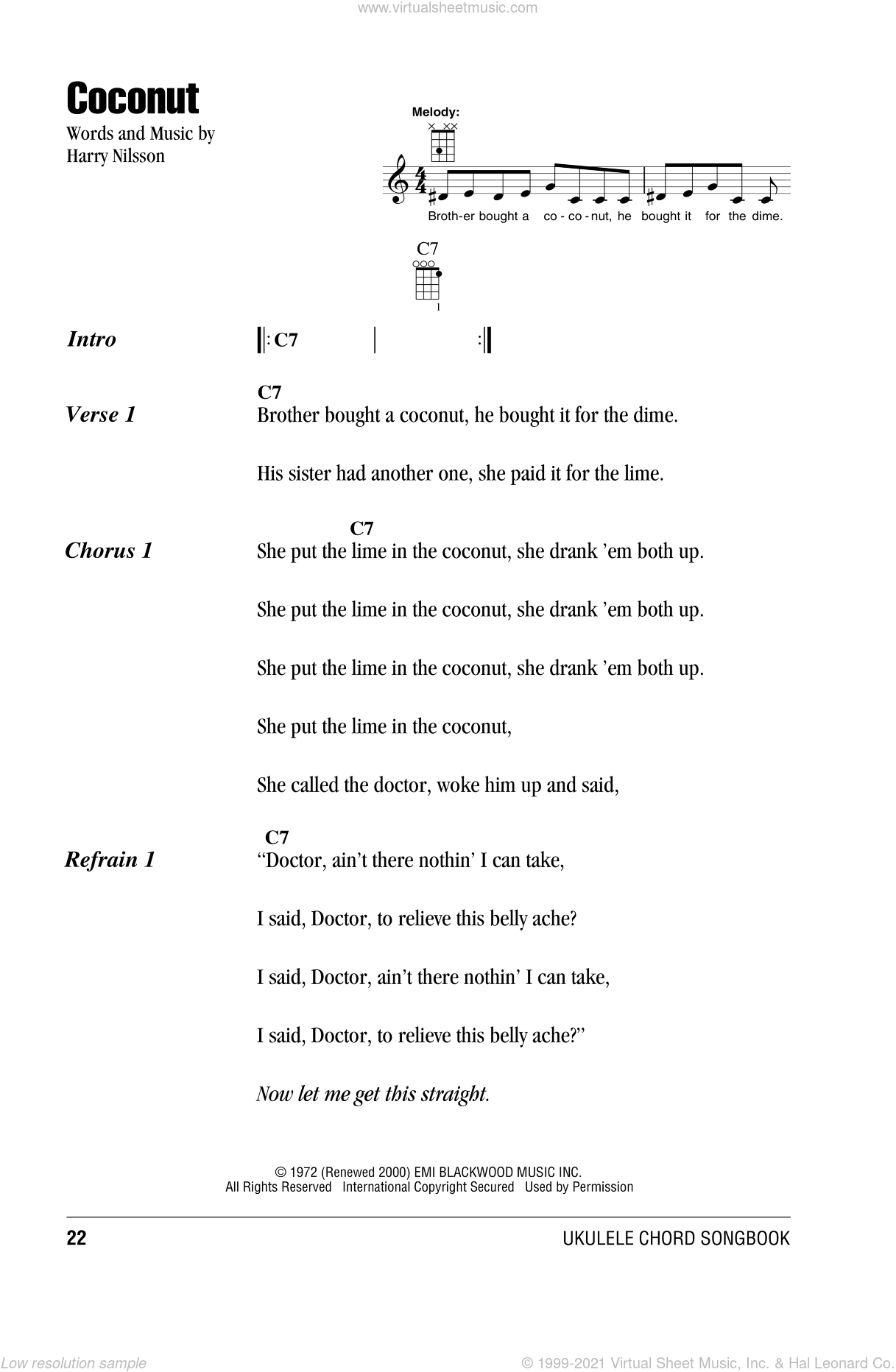 Coconut sheet music for ukulele (chords) by Harry Nilsson