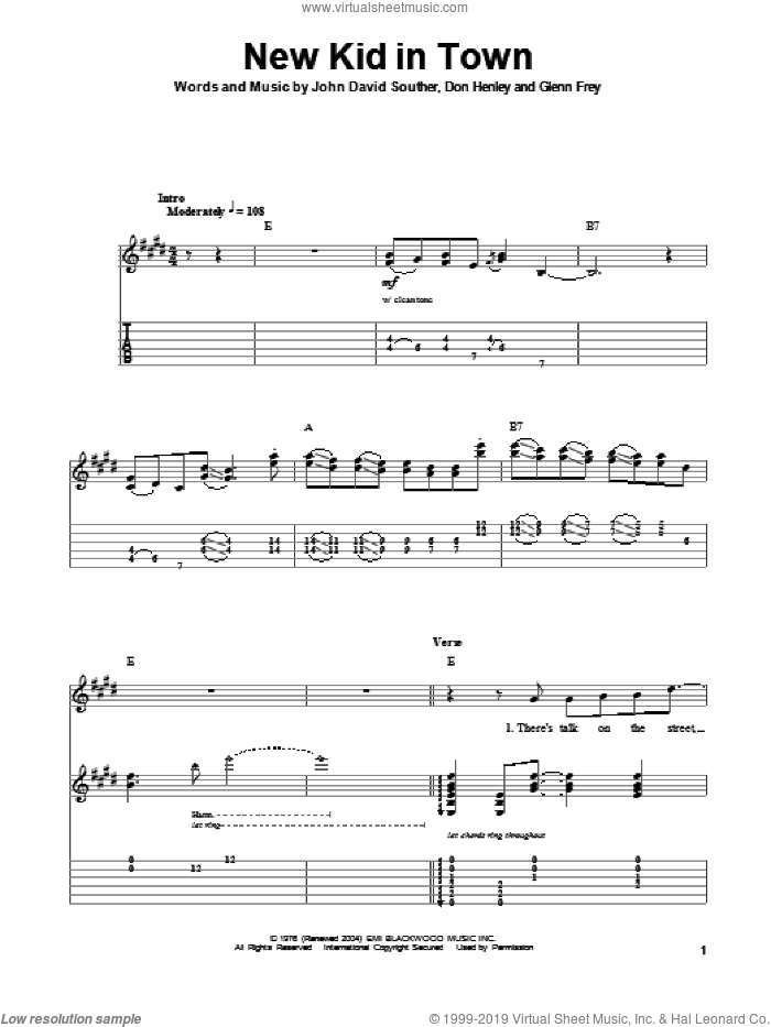 New Kid In Town sheet music for guitar (tablature, play-along) by John David Souther, Don Henley, Eagles and Glenn Frey. Score Image Preview.